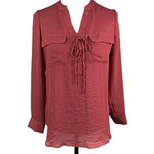 a.n.a | Tunic Blouse Grommet Lace Front Petite Med